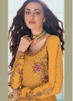 Faux Georgette Embroidered Yellow Trendy Anarkali Salwar Suit