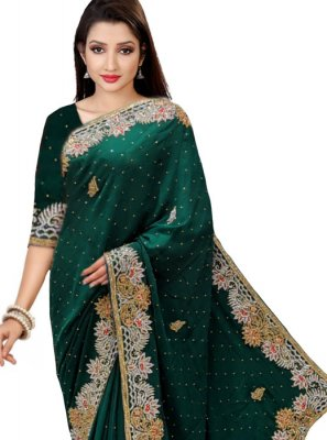 Faux Georgette Green Classic Saree