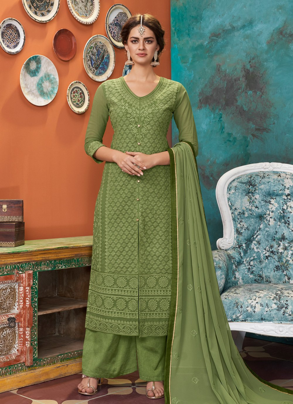Faux Georgette Green Designer Suit