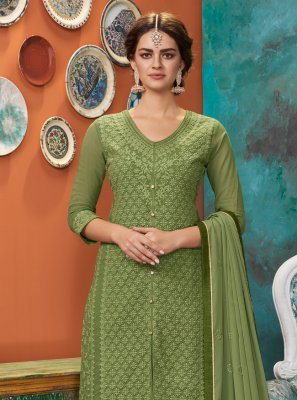 Faux Georgette Green Designer Suit