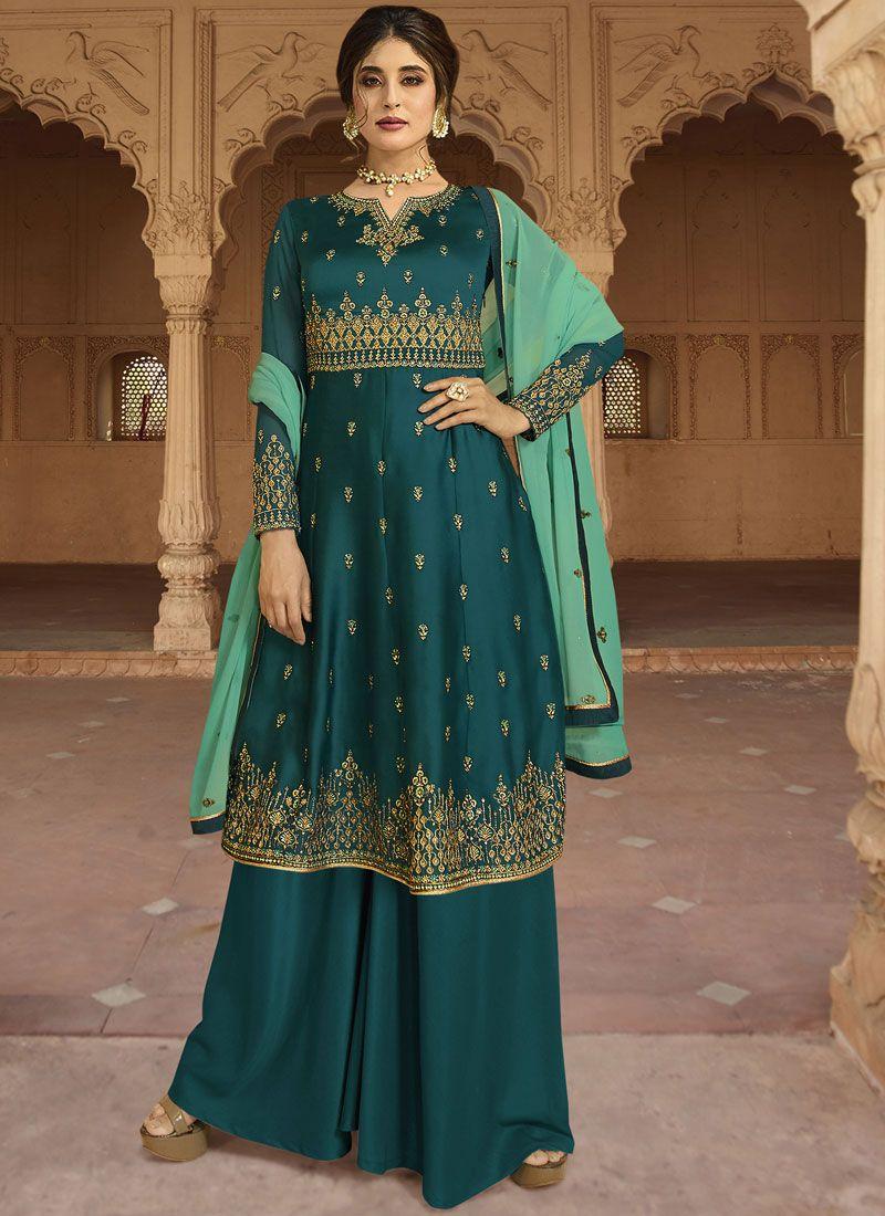 Faux Georgette Green Embroidered Designer Salwar Kameez