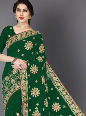 Faux Georgette Green Embroidered Designer Saree
