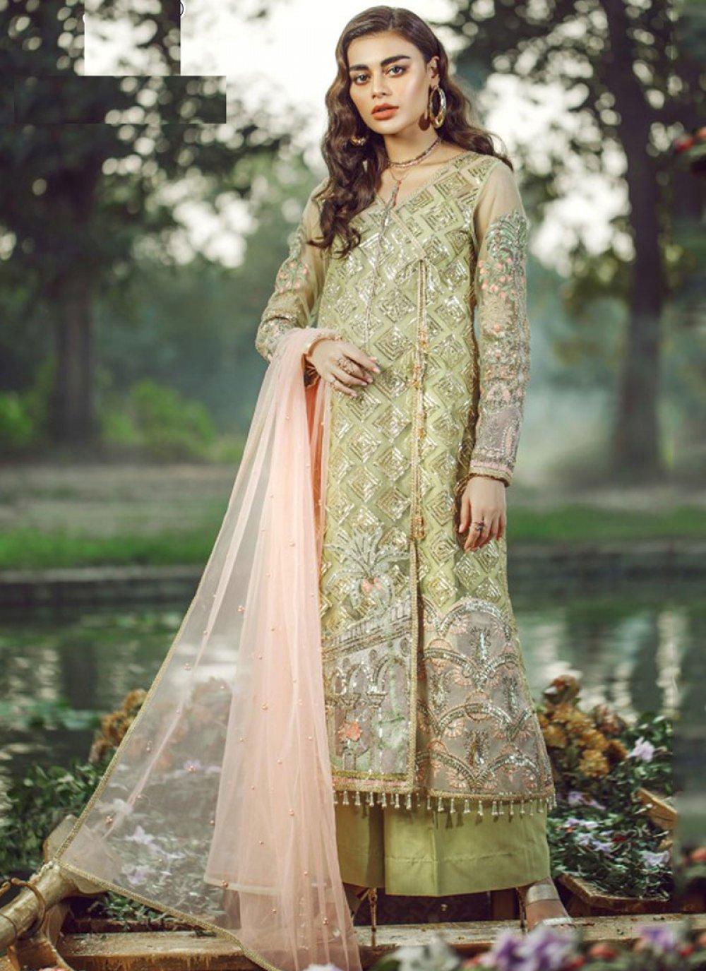 Faux Georgette Green Resham Pakistani Salwar Suit