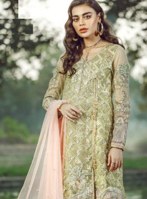 Faux Georgette Green Resham Pakistani Salwar Suit