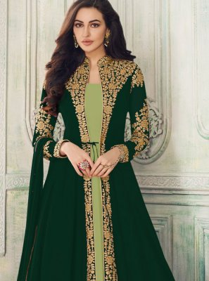 Faux Georgette Green Salwar Suit