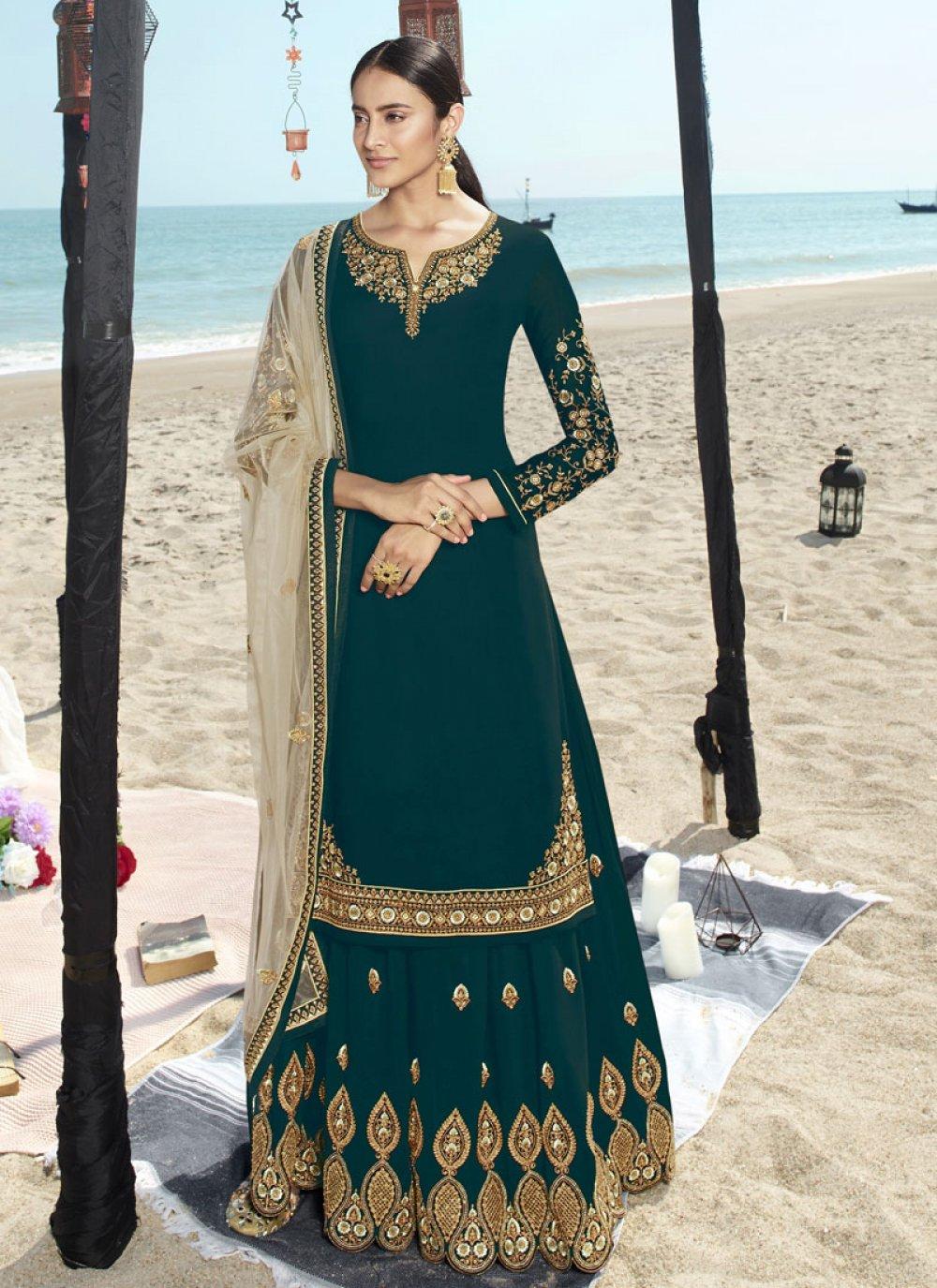 Faux Georgette Green Salwar Suit