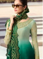 Faux Georgette Green Swarovski Palazzo Salwar Suit