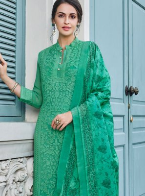 Faux Georgette Green Trendy Palazzo Suit