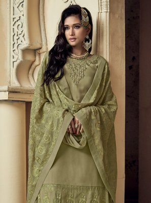 Faux Georgette Green Trendy Salwar Suit
