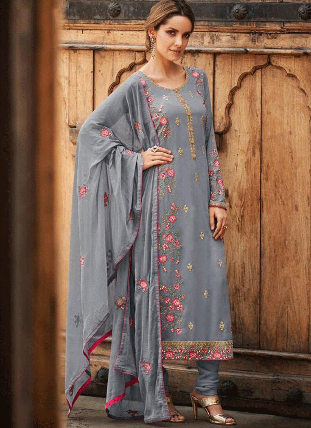 Faux Georgette Grey Embroidered Designer Salwar Kameez