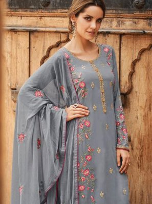 Faux Georgette Grey Embroidered Designer Salwar Kameez