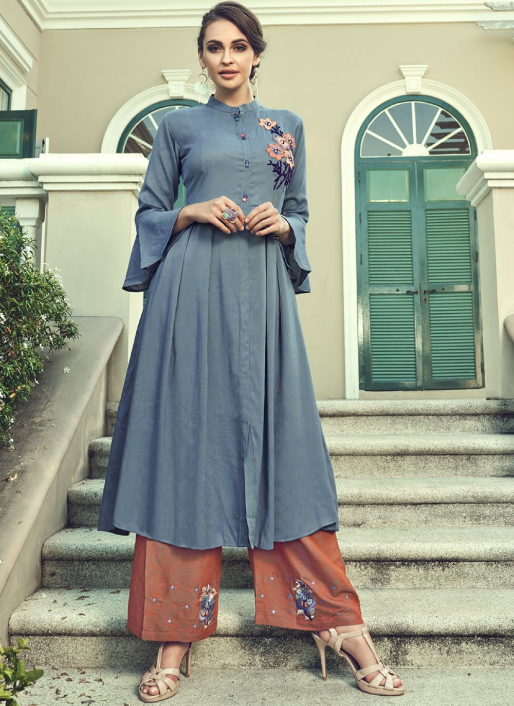 Faux Georgette Grey Embroidered Palazzo Salwar Suit
