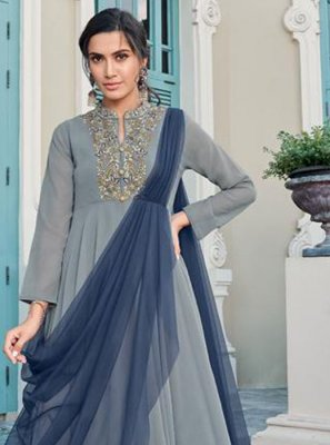 Faux Georgette Grey Trendy Gown
