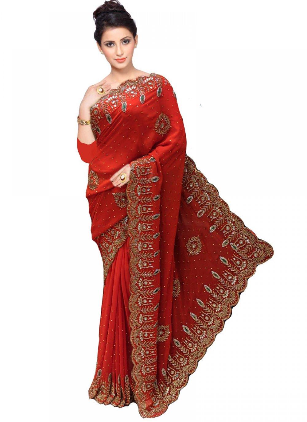 Faux Georgette Handwork Red Designer Traditional Saree
