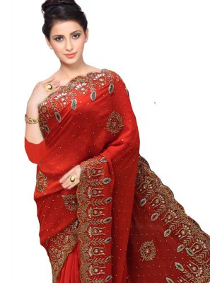Faux Georgette Handwork Red Designer Traditional Saree
