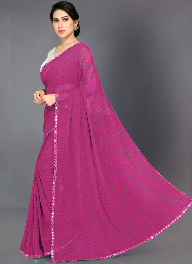 Faux Georgette Hot Pink Printed Saree