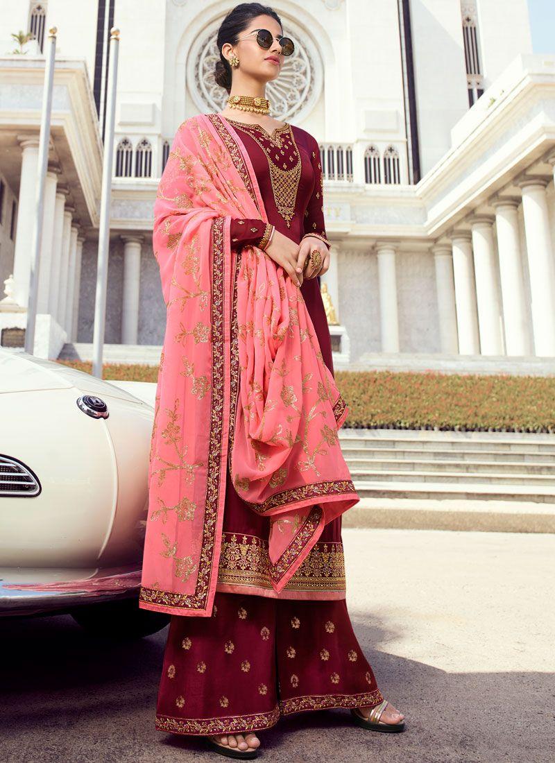 Faux Georgette Maroon Designer Palazzo Suit
