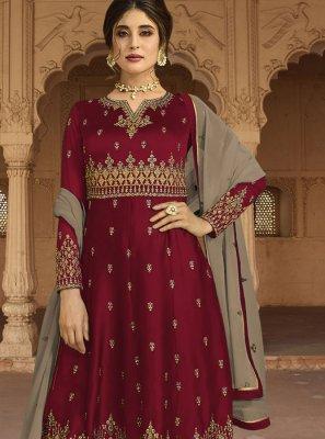 Faux Georgette Maroon Embroidered Kalidar Salwar Kameez