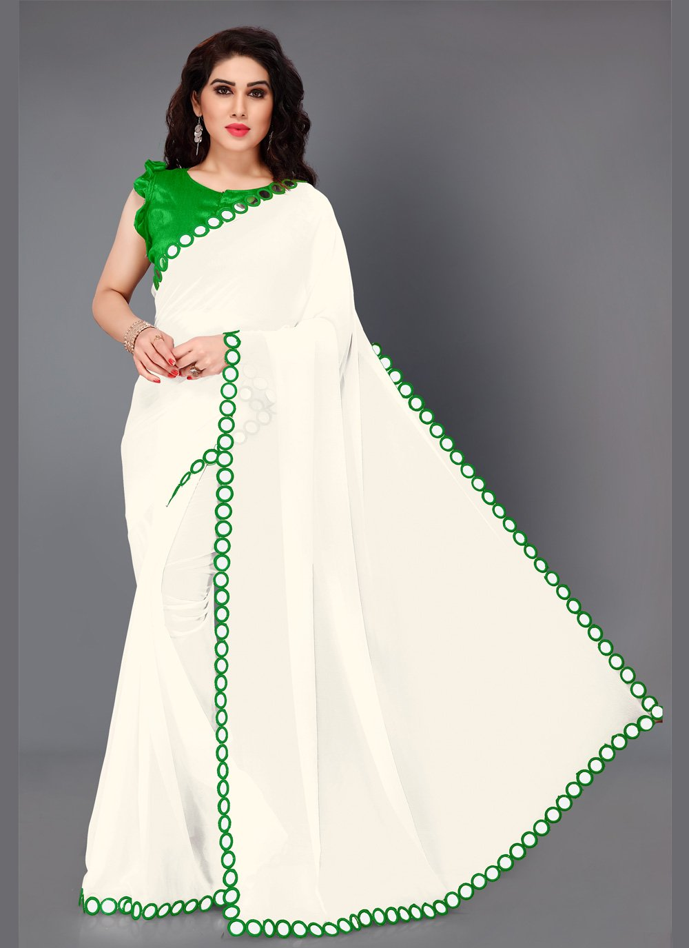 Faux Georgette Mirror Bollywood Saree in Green and White
