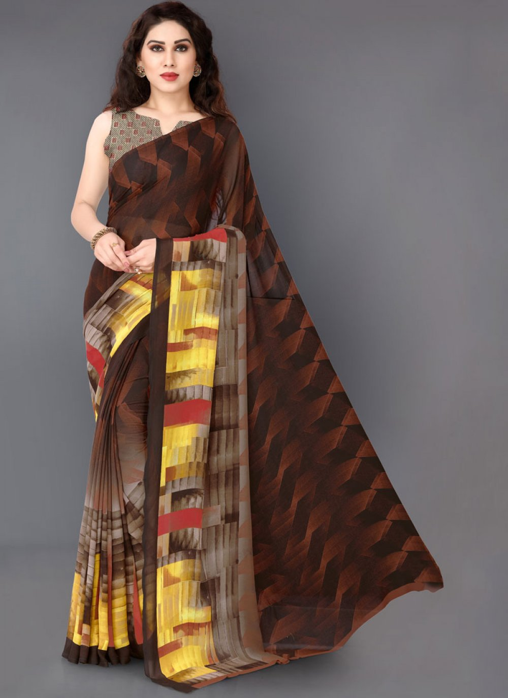 Faux Georgette Multi Colour Printed Printed Saree