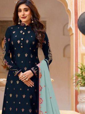 Faux Georgette Navy Blue Embroidered Designer Salwar Suit