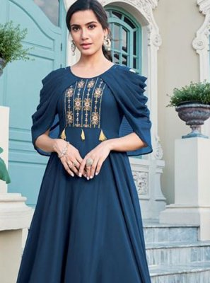 Faux Georgette Navy Blue Embroidered Trendy Gown