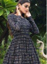 Faux Georgette Navy Blue Printed Designer Gown