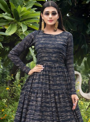 Faux Georgette Navy Blue Printed Designer Gown