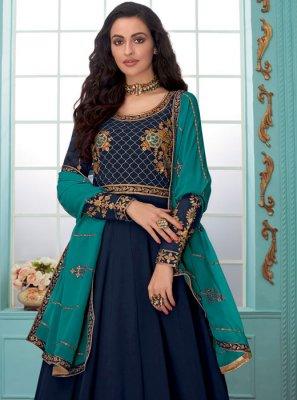Faux Georgette Navy Blue Resham Anarkali Salwar Kameez