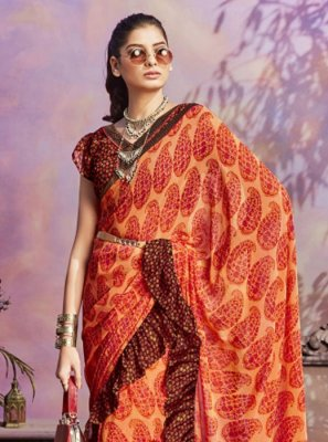 Faux Georgette Orange Casual Saree
