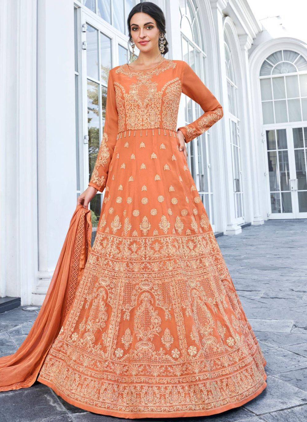 Faux Georgette Orange Floor Length Anarkali Salwar Suit