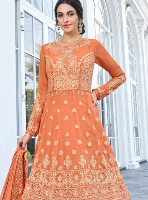 Faux Georgette Orange Floor Length Anarkali Salwar Suit
