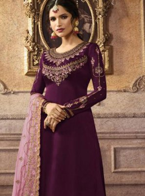 Faux Georgette Palazzo Salwar Suit in Purple