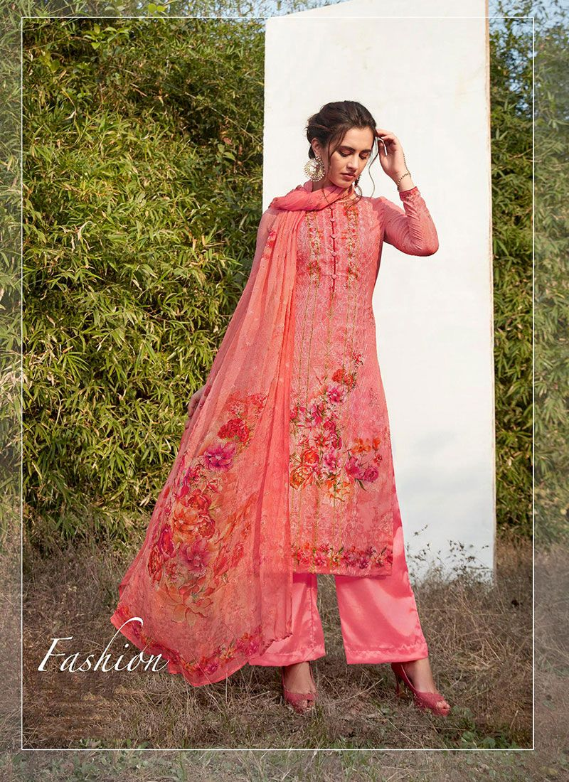 Faux Georgette Pant Style Suit in Hot Pink