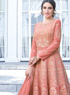 Faux Georgette Peach Anarkali Salwar Kameez