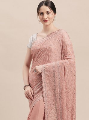 Faux Georgette Peach Classic Saree