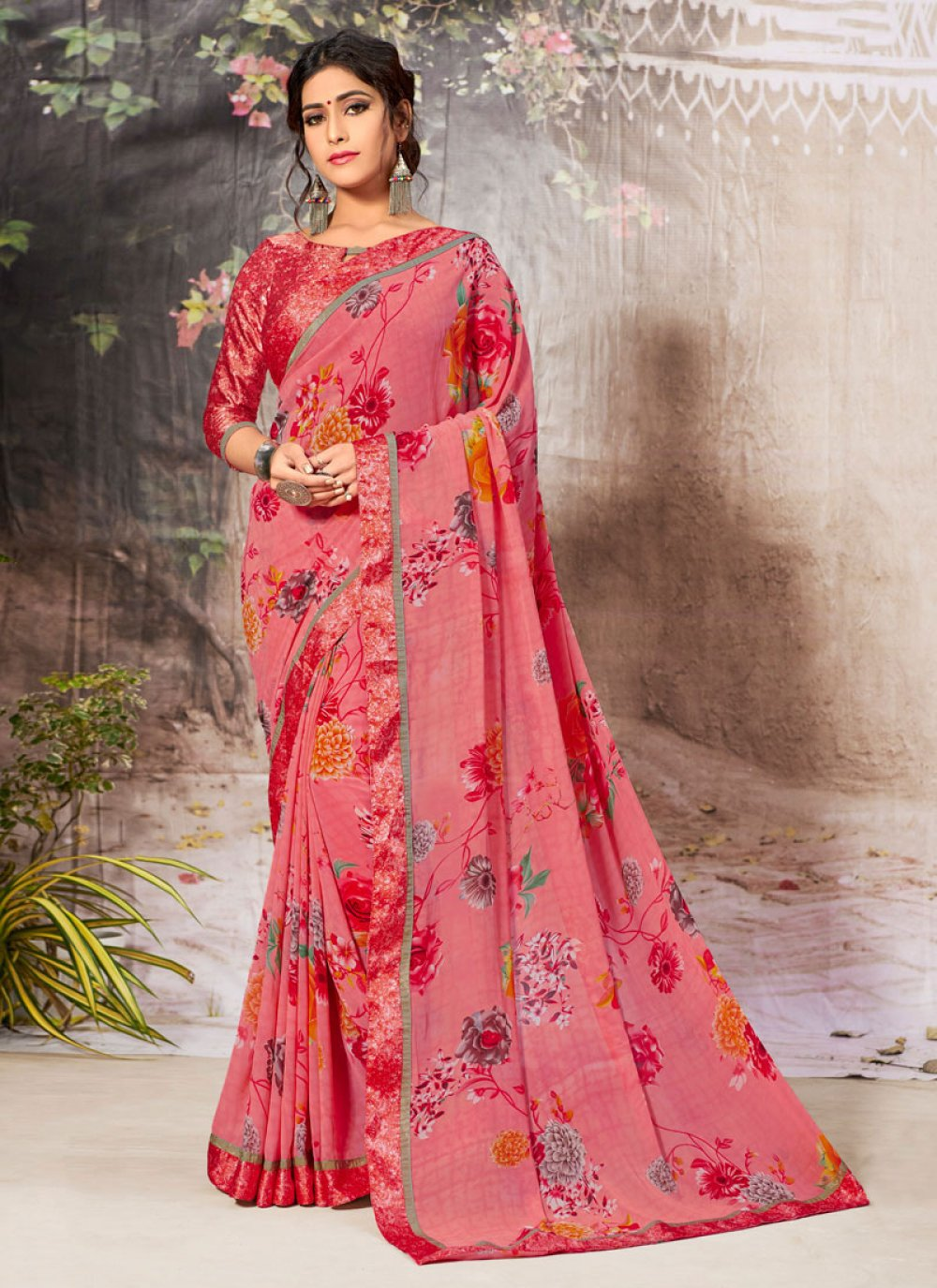 Faux Georgette Pink Border Casual Saree