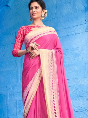 Faux Georgette Pink Classic Designer Saree