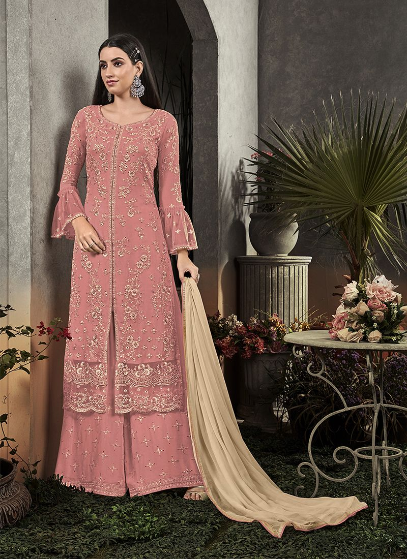 Faux Georgette Pink Embroidered Palazzo Salwar Suit
