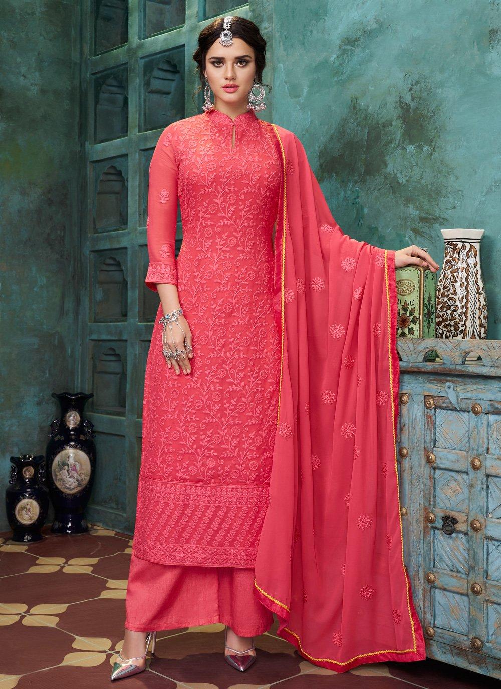 Faux Georgette Pink Embroidered Trendy Salwar Kameez