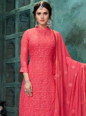 Faux Georgette Pink Embroidered Trendy Salwar Kameez
