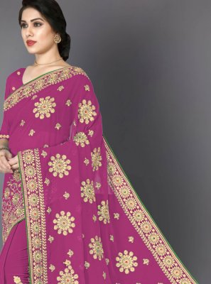 Faux Georgette Pink Embroidered Trendy Saree