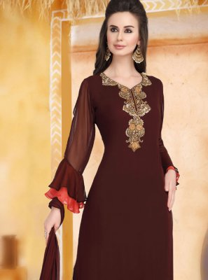 Faux Georgette Plain Brown Palazzo Salwar Kameez