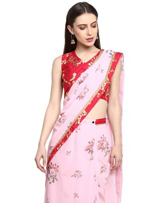 Faux Georgette Print Pink Ready Pleated Saree