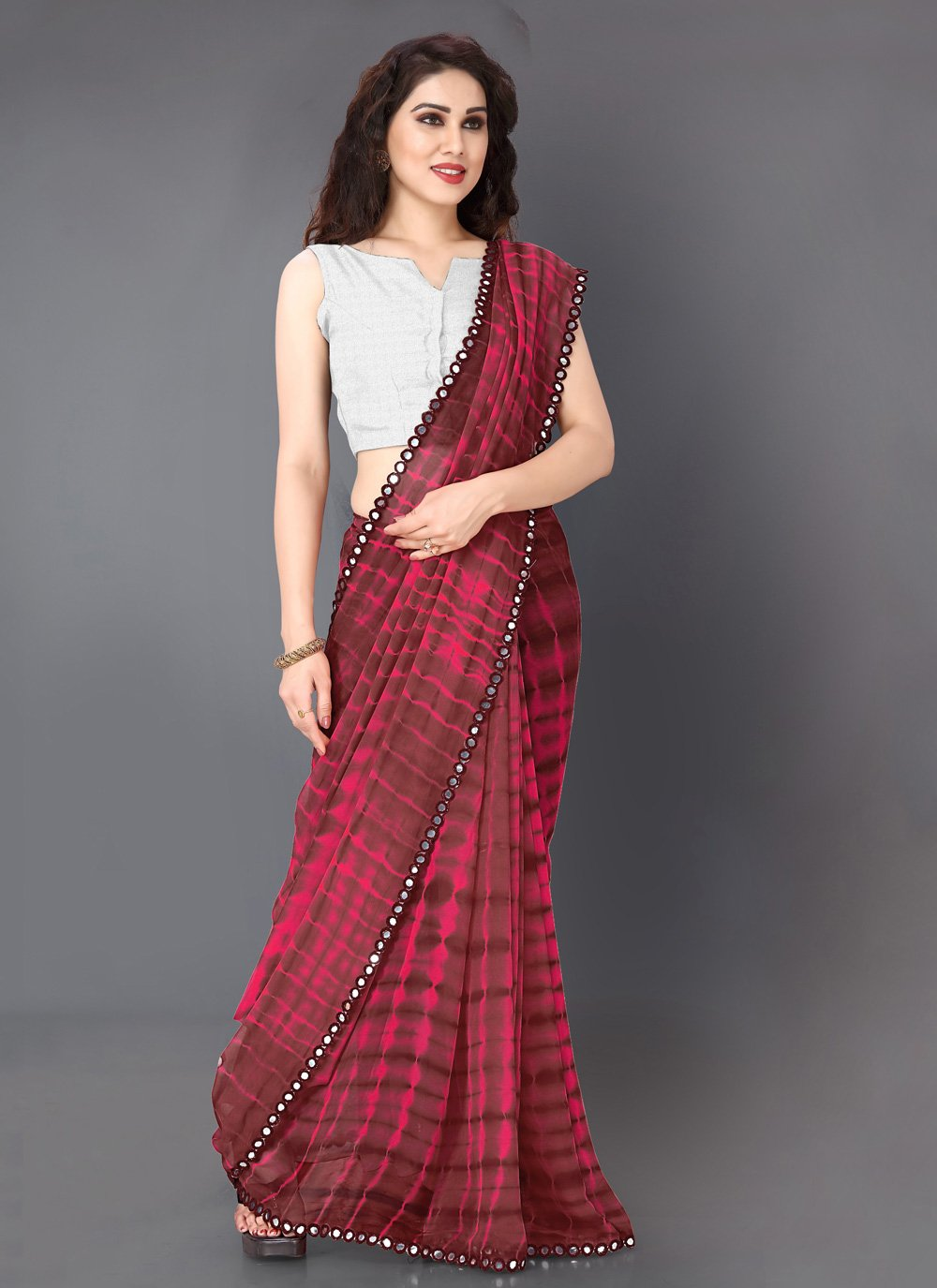 Faux Georgette Printed Classic Saree in Pink