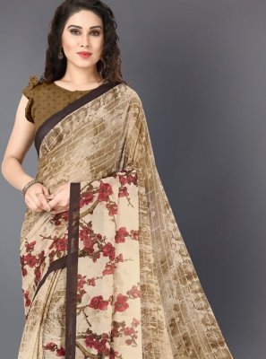 Faux Georgette Printed Cream Printed Saree