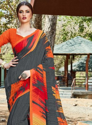 Faux Georgette Printed Grey Trendy Saree