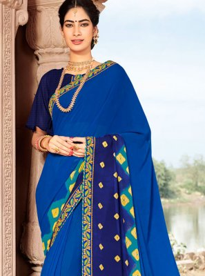 Faux Georgette Printed Saree in Blue