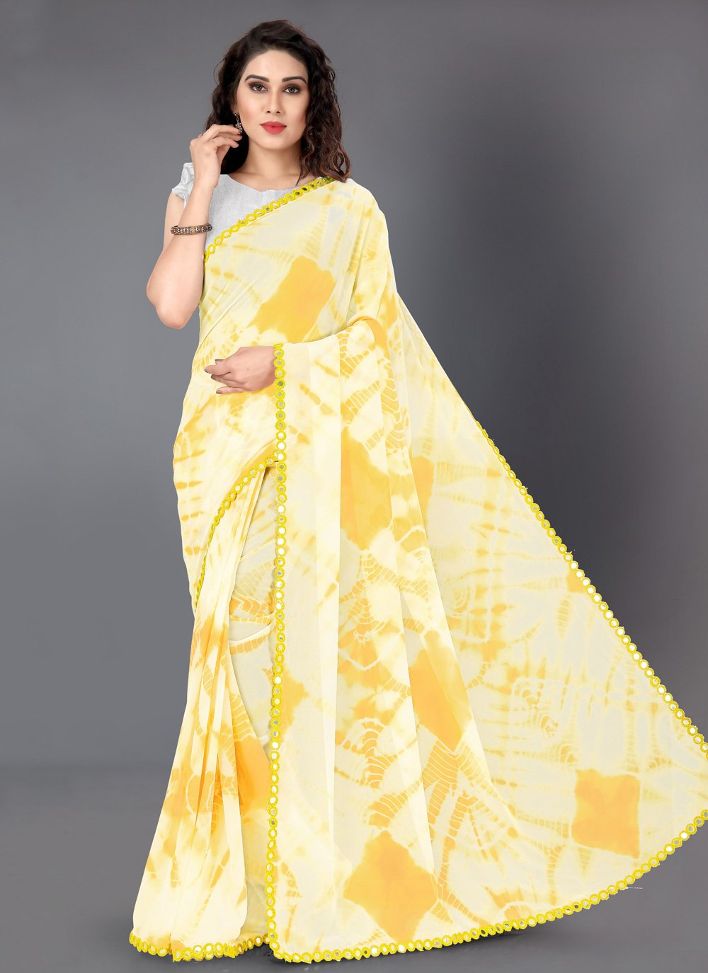 Faux Georgette Printed Yellow Traditional Saree