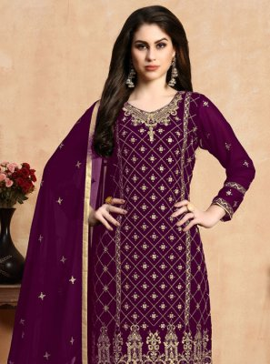 Faux Georgette Purple Pant Style Suit